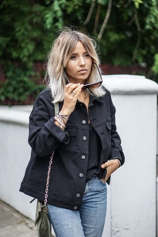 Olive Leather Crossbody Bag Outfits: A black denim jacket and an olive leather crossbody bag are strong players in any lady's wardrobe.