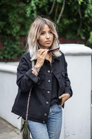 How to wear: black denim jacket, black tank, light blue jeans, olive leather crossbody bag