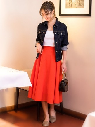 How to wear: navy denim jacket, white tank, red pleated midi skirt, beige leather loafers