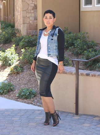 How to wear: light blue denim jacket, white tank, black leather pencil skirt, black leather heeled sandals