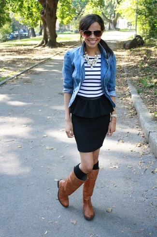 This pairing of a blue denim jacket and a New Look Black Pencil Peplum Skirt spells comfort and style. When it comes to footwear, this outfit is complemented perfectly with brown leather knee high boots. This outfit is everything for those warm days of spring.