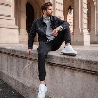 Men's Outfits 2020: For comfort dressing with a contemporary spin, reach for a black denim jacket and black cargo pants. If in doubt about what to wear in the footwear department, complement your look with a pair of white and black canvas low top sneakers.