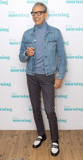 How to wear: light blue denim jacket, light blue turtleneck, charcoal chinos, black and white leather loafers