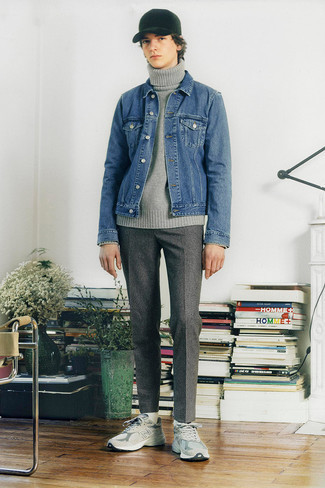 500+ Outfits For Men In Their Teens: Pair a blue denim jacket with grey check wool chinos to feel absolutely confident and look casually stylish. Round off with grey athletic shoes to make a traditional ensemble feel suddenly fresh. This pairing demonstrates that as a teen, you have a vast array of outfit options.