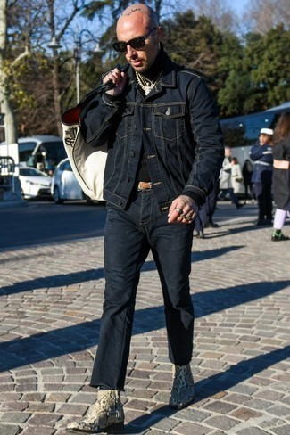 How to Wear a Jacket For Men: A jacket and navy jeans are absolute menswear staples that will integrate wonderfully within your daily rotation. A pair of tan snake leather chelsea boots easily spruces up the getup.