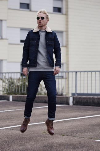 How to Wear Burgundy Leather Casual Boots For Men: Wear a navy denim jacket with navy jeans to don a laid-back and cool look. To bring a little fanciness to your ensemble, complete this getup with burgundy leather casual boots.