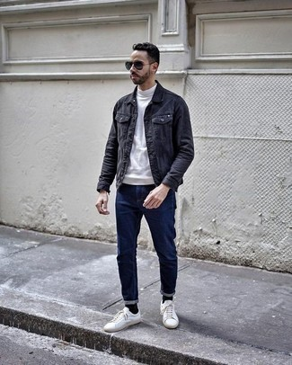 How to Wear a White Turtleneck For Men: Such staples as a white turtleneck and navy jeans are the perfect way to infuse effortless cool into your off-duty rotation. Throw in white leather low top sneakers and ta-da: your look is complete.