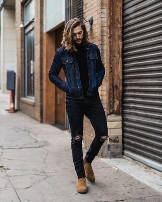 Black Ripped Jeans with Blue Denim Jacket Outfits For Men: Why not choose a blue denim jacket and black ripped jeans? As well as totally functional, these two pieces look good paired together. Tan suede chelsea boots are the most effective way to give a dose of refinement to your ensemble.