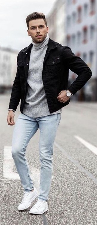How to wear: black denim jacket, grey turtleneck, light blue skinny jeans, white leather low top sneakers