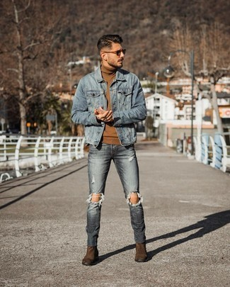 Charcoal Jeans Spring Outfits For Men: Beyond stylish and comfortable, this combo of a light blue denim jacket and charcoal jeans brings wonderful styling possibilities. Complete this ensemble with a pair of dark brown suede chelsea boots for an extra touch of elegance. As the weather gets warmer, it's time to  get rid of those heavy winter gear and choose something lighter, like this look here.