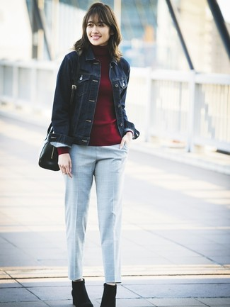 How to wear: navy denim jacket, burgundy turtleneck, grey check tapered pants, black suede ankle boots