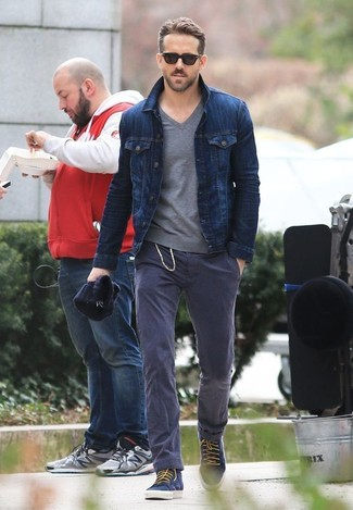 Ryan Reynolds Wearing Navy Denim Jacket Grey V Neck Sweater