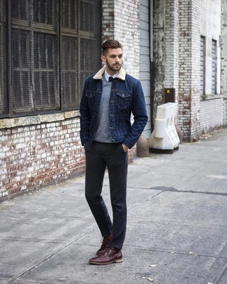 How to wear: navy denim jacket, grey v-neck sweater, white dress shirt, charcoal dress pants