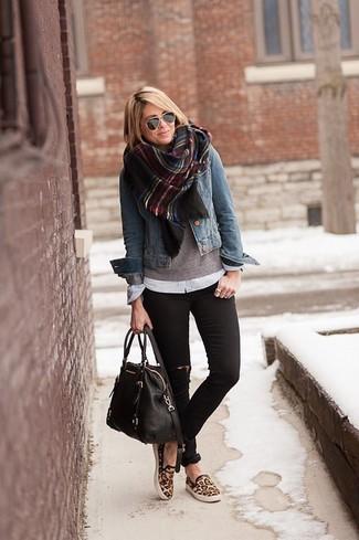 Women's Blue Denim Jacket, Grey V-neck Sweater, White Dress Shirt, Black Ripped Skinny Jeans