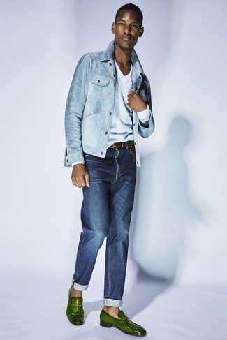 How to wear: light blue denim jacket, light blue v-neck sweater, white v-neck t-shirt, navy jeans