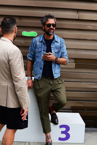 How to wear: blue denim jacket, navy waistcoat, navy crew-neck t-shirt, olive chinos