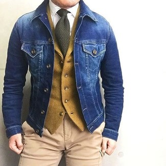 How to wear: blue denim jacket, mustard wool waistcoat, white dress shirt, khaki cargo pants