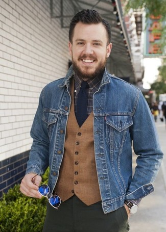How to wear: blue denim jacket, tan wool waistcoat, dark brown check dress shirt, olive chinos