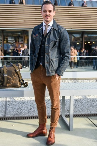 How to Wear a Jacket For Men: Showcase your credentials in menswear styling by combining a jacket and tobacco corduroy chinos for an off-duty ensemble. A pair of brown leather casual boots brings a sophisticated aesthetic to the getup.