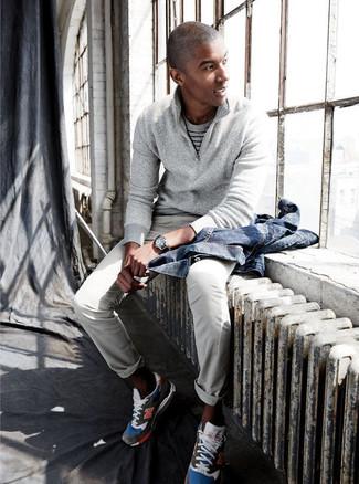 Men's Blue Denim Jacket, Grey Zip Neck Sweater, Grey Horizontal Striped Crew-neck T-shirt, Grey Chinos