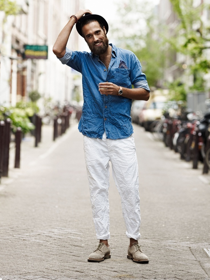 Which Denim Shirt To Wear With White Chinos | Men's Fashion