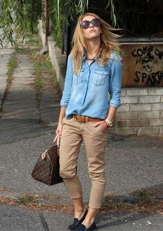 Women's Light Blue Denim Shirt, Khaki Chinos, Black Suede Loafers, Dark Brown Print Leather Tote Bag