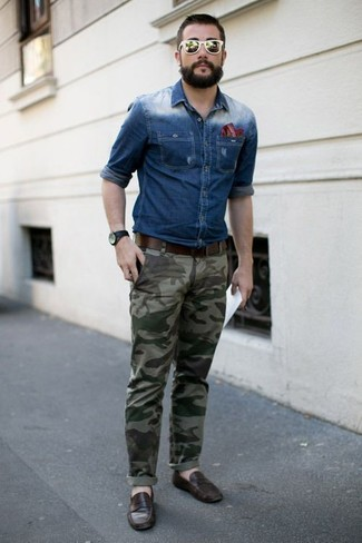 How to wear: blue denim shirt, olive camouflage chinos, dark brown leather loafers, red horizontal striped pocket square