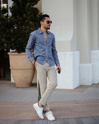 Beige Chinos Outfits: This combo of a blue denim shirt and beige chinos is very easy to achieve and so comfortable to rock as well! White leather low top sneakers will be the perfect companion to your ensemble.