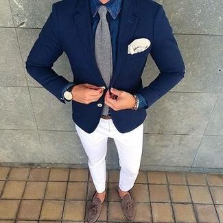 How to wear: blue denim shirt, white chinos, brown suede tassel loafers, grey knit tie