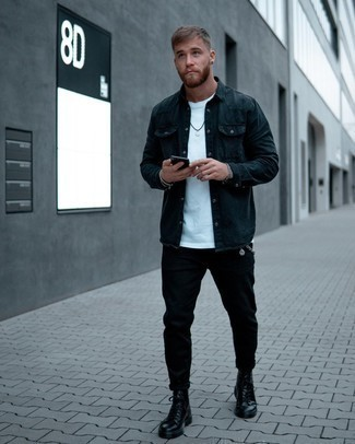 Blue Denim Shirt Outfits For Men: Go for a blue denim shirt and black chinos to assemble an interesting and modern-looking relaxed ensemble. Throw in black leather casual boots to instantly shake up the ensemble.