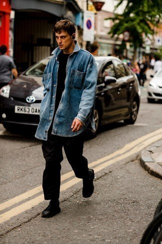 Black Athletic Shoes Outfits For Men: If it's ease and practicality that you're seeking in an ensemble, make a blue denim shirt and black chinos your outfit choice. Serve a little mix-and-match magic with black athletic shoes.