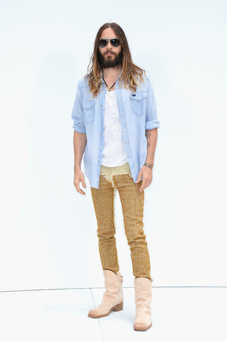 How to Wear a Light Blue Denim Shirt For Men: Choose a light blue denim shirt and gold jeans for a functional look that's also well-executed. Our favorite of a ton of ways to complement this ensemble is with pink suede cowboy boots.