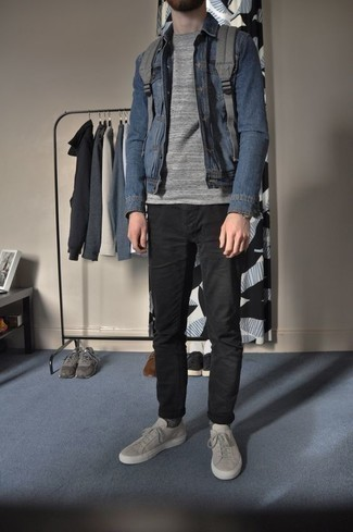 Black Jeans with Blue Denim Shirt Outfits For Men: If you're hunting for a casual but also sharp getup, wear a blue denim shirt and black jeans. Complement this ensemble with a pair of grey canvas low top sneakers and the whole look will come together quite nicely.