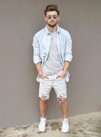 Men's Light Blue Denim Shirt, Grey Crew-neck T-shirt, White Denim Shorts, White Canvas High Top Sneakers
