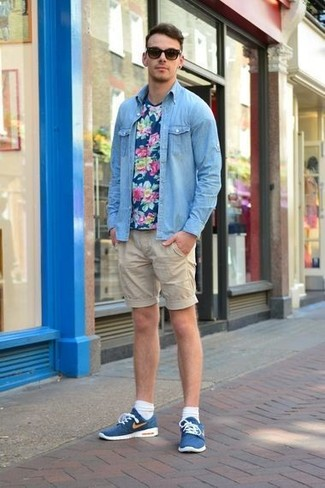 Beige Shorts with Blue Low Top Sneakers