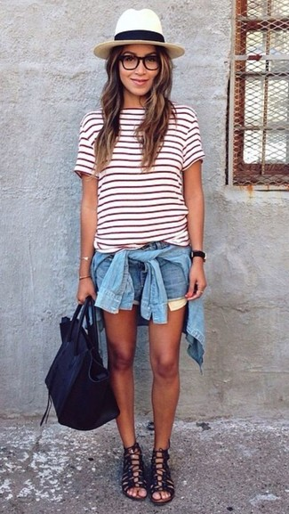 How to Wear a White and Red Horizontal Striped Crew-neck T-shirt For Women: Choose a white and red horizontal striped crew-neck t-shirt and light blue denim shorts to achieve an interesting and current off-duty outfit. Add a pair of black leather gladiator sandals to the mix to shake things up.