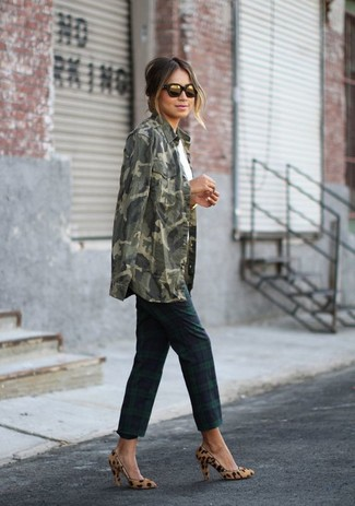 Women's Olive Camouflage Denim Shirt, White Crew-neck T-shirt, Navy and Green Plaid Skinny Pants, Tan Leopard Suede Pumps