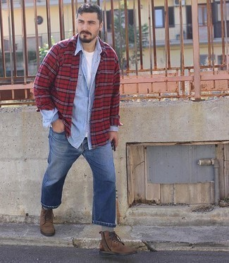 Blue Pants with Red Shirt Outfits For Men: Wear a red shirt and a red plaid flannel long sleeve shirt for a casually edgy and stylish outfit. For something more on the classier side to complete your look, complete your look with brown suede casual boots.