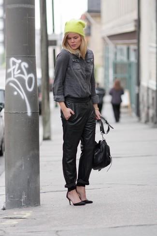 56bf5b227fd Women s Fashion › Fashion for 30 year old women Women s Grey Denim Shirt