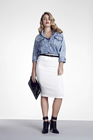How to wear: light blue denim shirt, white quilted pencil skirt, black leather ankle boots, black leather clutch