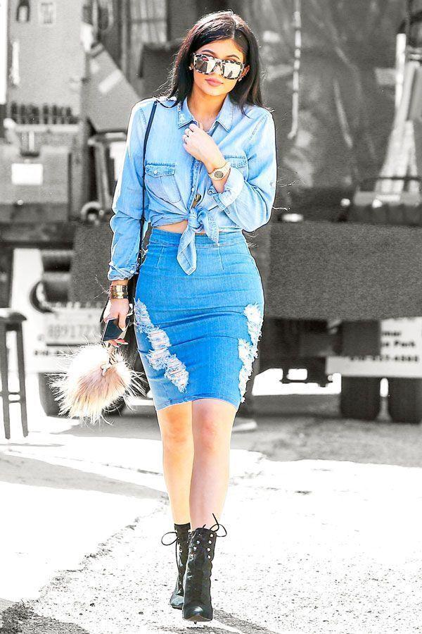 Kylie Jenner Wearing Light Blue Denim Shirt Blue Ripped