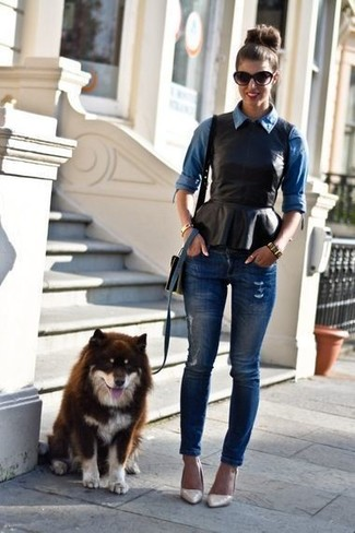 How to wear: blue denim shirt, black leather peplum top, navy ripped skinny jeans, beige leather pumps