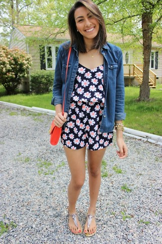 How to wear: blue denim shirt, navy floral playsuit, grey print leather thong sandals, red leather crossbody bag