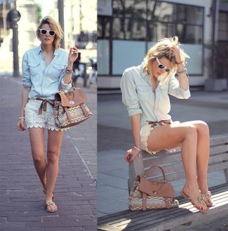 Wear a light blue denim shirt with white lace shorts for a glam and trendy getup. Rock a pair of thong sandals for a more relaxed vibe. No doubt, it's easier to work through a warm summer day in a summery getup like this one.
