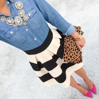 Women's Blue Denim Shirt, Black and White Horizontal Striped Skater Skirt, Hot Pink Suede Pumps, Tan Leopard Suede Clutch