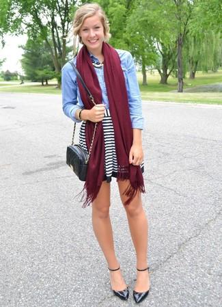 4009e601dad9 ... Women's Light Blue Denim Shirt, White and Black Horizontal Striped  Skater Skirt, Black Leather