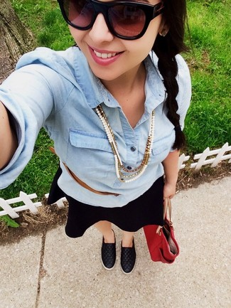 A light blue denim shirt and a black skater skirt are perfect for both running errands and a night out. Want to go easy on the shoe front? Go for a pair of black quilted leather slip-on sneakers for the day.
