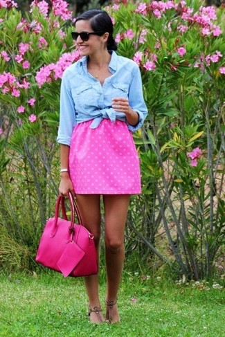 Stand out among other stylish civilians in a denim shirt and a hot pink polka dot pleated skirt. Go for a pair of brown leather thong sandals to have some fun with things. Loving that this look is great come summertime.