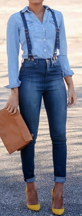 How to wear: light blue denim shirt, blue skinny jeans, yellow suede pumps, brown leather clutch