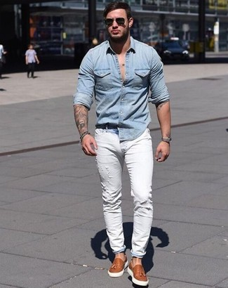 bc79bb08858 Men's Fashion › Fashion for 20 year old men Men's Light Blue Denim Shirt, White  Ripped Skinny Jeans, Tobacco Leather Tassel Loafers,